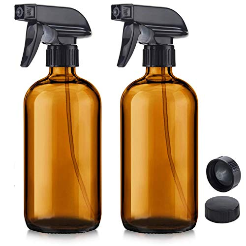 NIUTA Empty Glass Spray Bottles with Labels - 16 Oz Refillable Container for Essential Oils, Cleaning Products, or Aromatherapy (2 Pack, Amber)