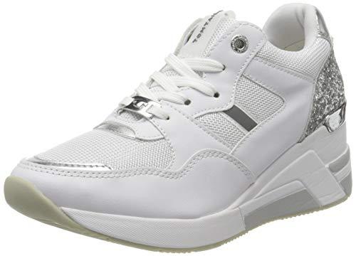 TOM TAILOR Damen 8091512 Sneaker, Mehrfarbig (White-Silver 00170), 38 EU