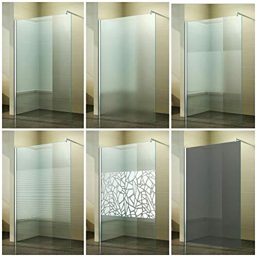 Walk in Duschabtrennung Duschtrennwand Klarglas Milchglas Scherben Spiegel Gestreift Satiniert Duschwand Glas 10mm ESG, Breite:70 cm, Ausführung:Vollsatiniert