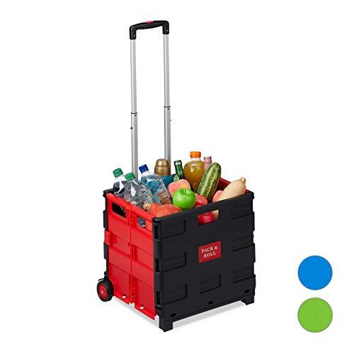 Relaxdays Carrito Compra Plegable, 2 Ruedas, Caja Transporte, hasta 35 kg, 98 x 45,5 x 37 cm, Plástico-Aluminio, Rojo