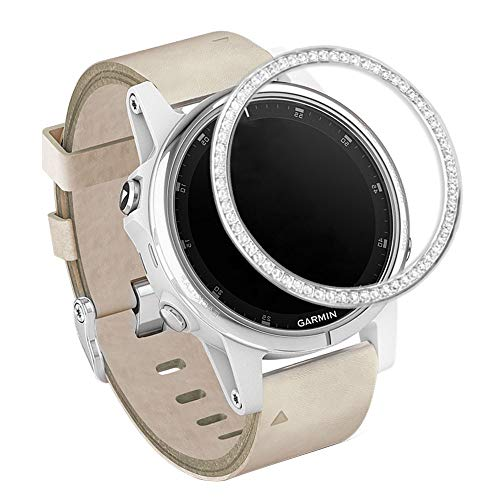 Price comparison product image Abanen Watch Bezel for Garmin Fenix 5S,  Crystal Bling Adhesive Cover Anti-Scratch Protection Ring for Garmin Fenix 5S / 5S Plus, TicWatch C2 Rose Gold, Huawei Watch GT Elegant 42mm (Silver)