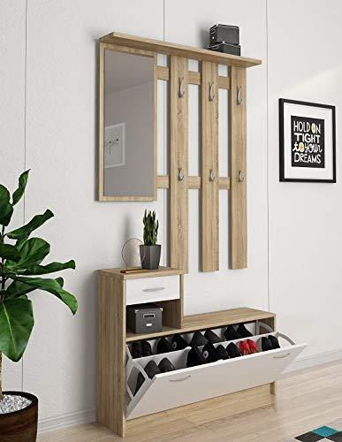 Dmora Mobile da Ingresso con Specchio e scarpiera, Entratina con cassetto, Legno, 100 x 25 x 180 cm, Bianco e Rovere