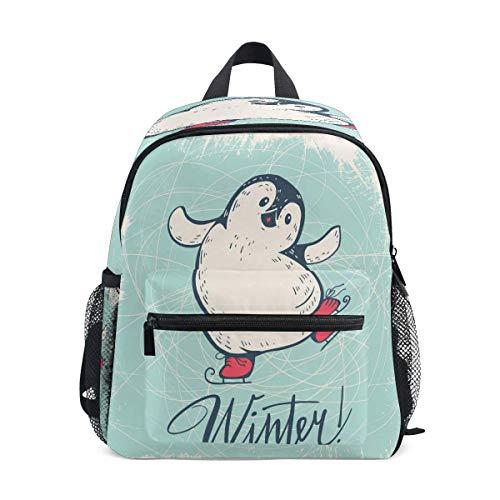 Rucksack Lustiger Cartoon Pinguin Schlittschuhe Schulrucksack für Jungen Kinder Vorschule Schultasche Kleinkind Büchertasche