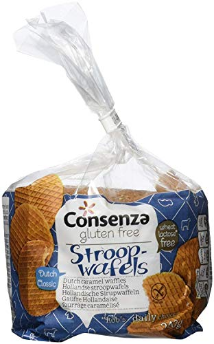 Consenza Gluten Free Stroopwafels - 240 g - 3 packs - Classic Dutch Caramel Waffles