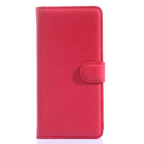 Tasche für HTC Desire Eye Hülle, Ycloud PU Ledertasche Flip Cover Wallet Hülle Handyhülle mit Stand Function Credit Card Slots Bookstyle Purse Design rote