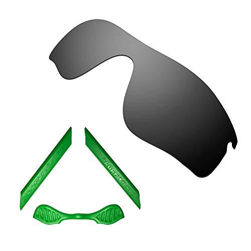 HKUCO For Oakley Radarlock Path Black Polarized Replacement Lenses And Green Earsocks Rubber Kit
