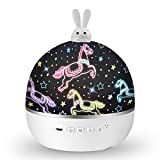 Easter Bunny Night Light for Kids, Star Projector with Music, Baby Girl Gifts, Sensory Lights for Bedroom, Star Galaxy Lamp, Cute Toys and Sleep Helper for Boy 2-8, 6 Sets of Film, Child Room Decor