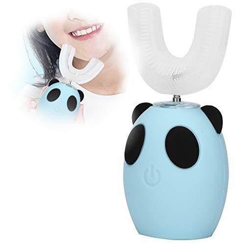 Spazzolino da denti elettrico per bambini, spazzolino elettrico sonico per bambini a forma di U Spazzolino da denti intelligente per la pulizia dei bambini(Blu)