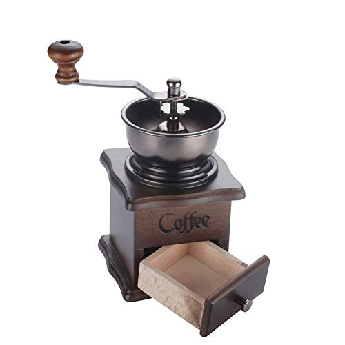 lujiaoshout Manuale Coffee Grinder Mano Coffee Mill Base di Legno con cassetto di Stile del Chicco di caffè Mill d'antiquariato della manovella