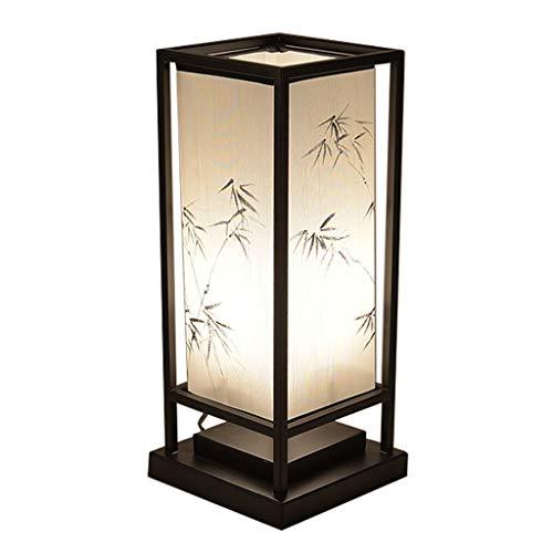 YI0877CHANG Lamparilla de Noche Estilo Chino lámpara de Mesa de Noche Dormitorio Tabla Retro Estudio Hecho a Mano Las Hojas de bambú clásica pequeña lámpara de Tabla Lámpara Mesilla