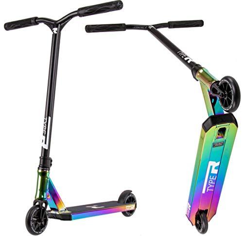 Root Industries R-Type Stunt-Scooter H= 82,5mm trick Tret Roller Rocket Fuel Oilslick Schwarz Regenbogen Rainbow + Fantic26 Sticker