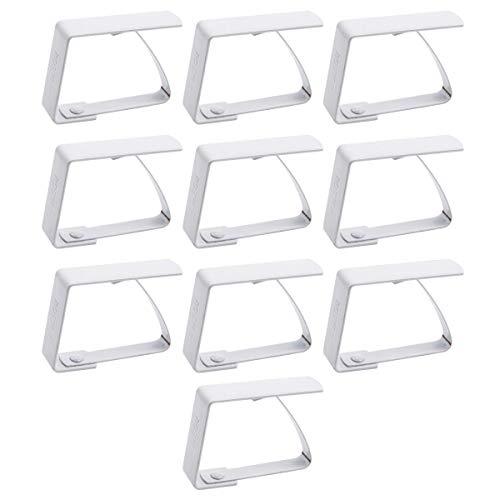 Anladia 10 Stück Tischtuchklammern Edelstahl, Tischdeckenbeschwerer, Tischdeckenhalter Weiß
