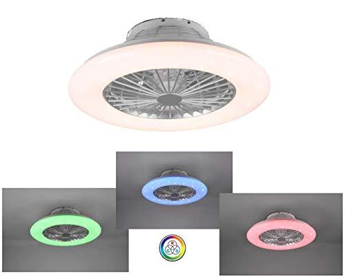 Ventilatore Soffitto RGB 3 Colori Plafoniera Moderna Illuminazione LED Luce Dimmerabile effetto cielo stellato Vortice 3 Intensità Silenzioso Timer Istruzioni Italiano Ø 50cm