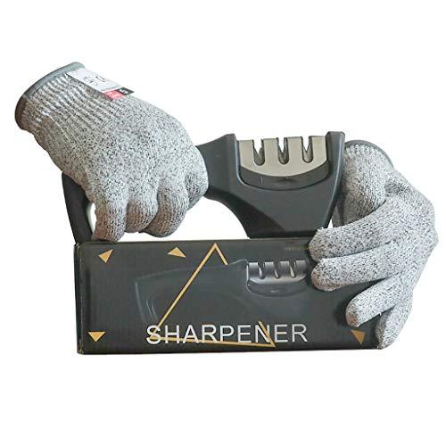 Best Kitchen Knife Sharpener, Sharpening Stones,Upgraded 3-Stage Blades Sharpener Stone (Ceramic,Coarse,Fine).Kitchen Accessories Help Repair, Restore and Polish Blades Quickly, (black)