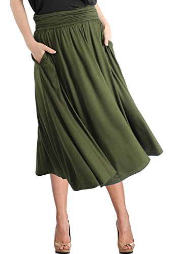 TRENDY UNITED Women's Rayon Spandex High Waist Shirring Flared Pocket Skirt (S0030-OLV, XL)