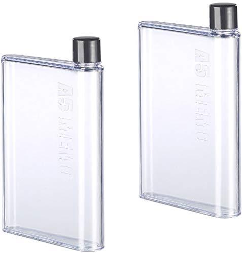 Rosenstein & Söhne Trinkflasche: 2er-Set ultraflache Wasser-Flaschen im A5-Notizbuch-Format, je 420 ml (Flasche flach)