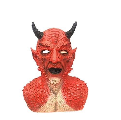 Yajaw Diablo Belial Mask El Señor de Las mentiras Belial Máscara con Guantes de Pata Cuerno para Cosplay Disfraz de Fiesta Halloween