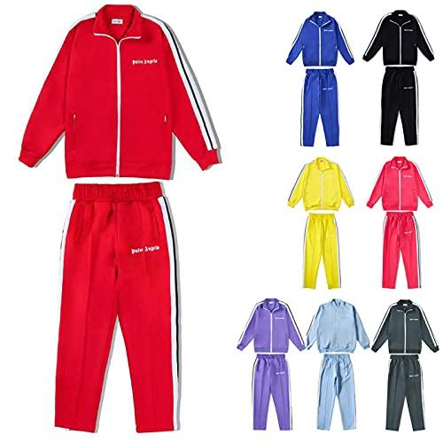 YILYMINA Palm-Angel Anzug Herren, Damen Sweatshirts Trainingsanzüge Jacke Brief Set Activewear-Jogginghose Kapuzenpullover für Unisex,Rot-S
