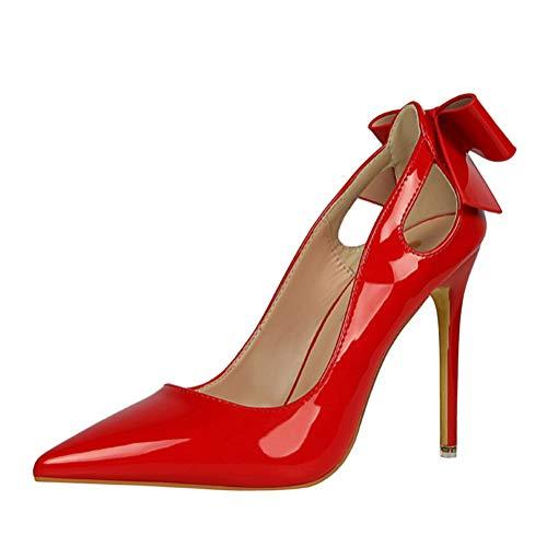 Minetom 1Cm Zapatos De Tacón De Aguja Puntiagudo Punta Cerrada Diseño Elegante Modo para Fiesta Y Boda para Mujer Rojo 37 EU