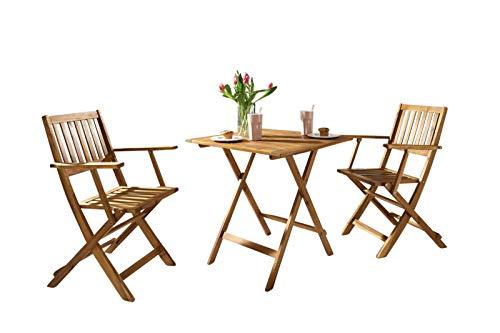 SAM 3-TLG. Gartengruppe Camelia, Akazien-Holz, 1x Tisch 62x62 cm + 2X Klappsessel, Set klappbar, massives Balkonset