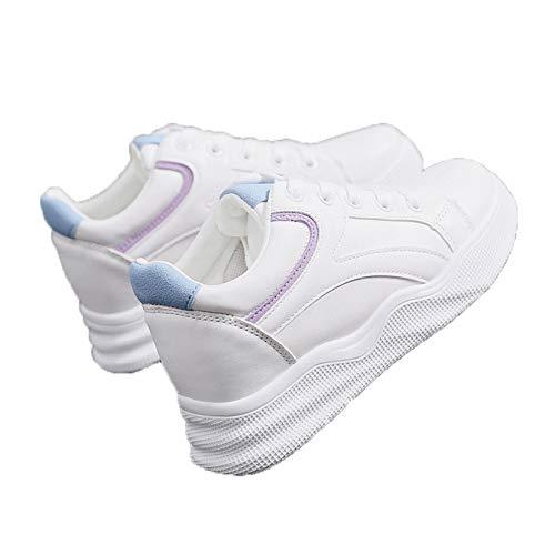 Zapatos Casuales de Mujer, Zapatos de Plataforma Baja con Cordones de Retazos, Zapatos de tacón de cuña Transpirables Resistentes al Desgaste, Zapatillas de Deporte Elegantes de Primavera y otoño