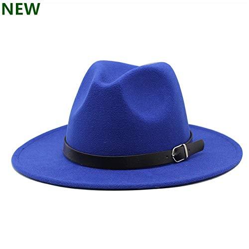 Hombres Fedoras Moda Mujer Sombrero de Jazz Verano Primavera Gorra Negra Sombrero Casual al Aire Libre X XL-BLUE-1-58-61CM