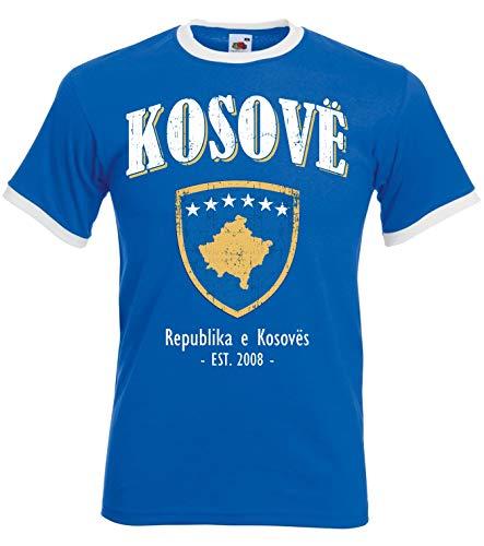 aprom Kosovo Ringer T-Shirt Fußball Trikot D04 Royal (M)