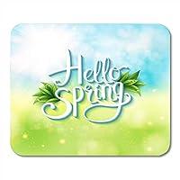 春を迎えるマウスパッドHello Hello Spring with Abstract of Sunny Green Meadow With Flowing White Text Mouse Matsマウスパッド
