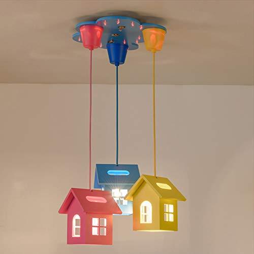 Umwelt Holz Kronleuchter, warme romantische junge Mädchen blau/rosa/gelb Kinder Beleuchtung Lüster Deckenleuchten Cartoon kreative Kinderzimmer Schlafzimmer dekorative Pendelleuchte