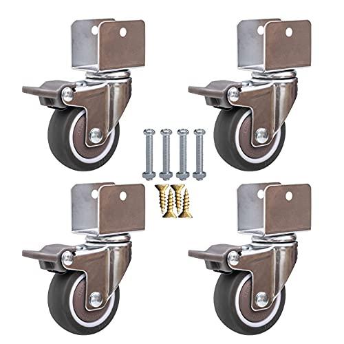 XCTLZG 4 ruedas giratorias para muebles, con soporte tipo U, con tornillos, 2 en 50 mm, ruedas de goma para muebles, mudo, rodamientos de bolas, capacidad de 80 kg (ancho interior 16-25 mm)