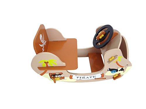 Kiddi Style Piraten Schaukelschiff & Schaukelboot – Jungen Schaukelspielzeug & Wellenschaukler Holzspielzeug - 3