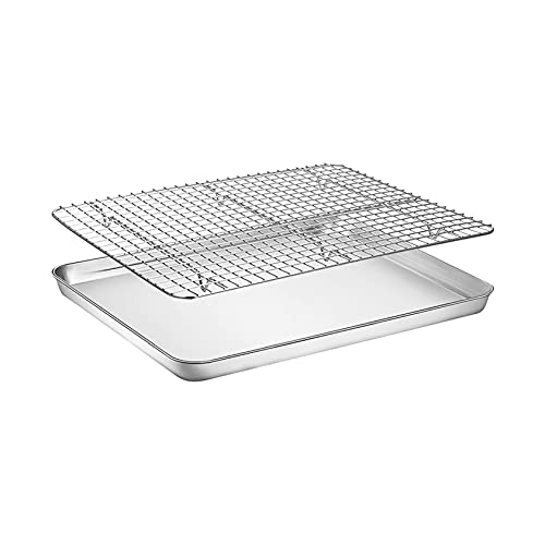 Stainless Steel Baking Sheets with Rack, Cookie Sheets and Nonstick Cooling Rack & Baking Pans for Oven & Toaster Oven Tray Pans, Choose from 4 Sizes Baking Sheet Set (10.4x8x1 Inch)