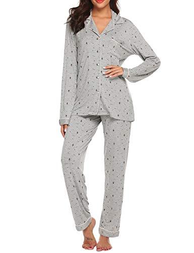 Ekouaer Christmas Sleepwear Women's Red Pajamas Lightweight Two Piece PJ Set (Christmas Grey,M)