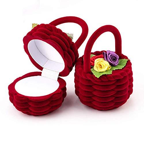 MIAOMIAO 1 bonita cesta de flores de terciopelo para boda, anillo de...
