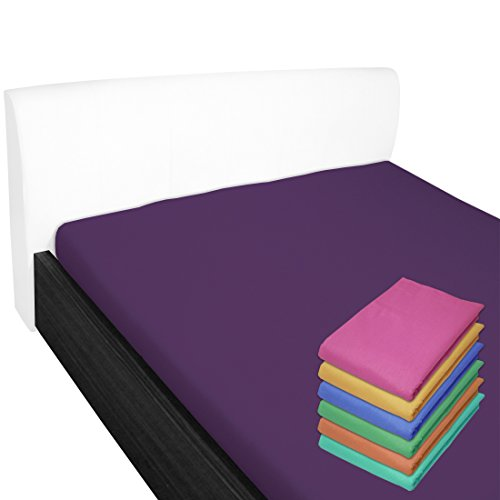 Nurtextil24 Bettlaken 150x240cm 28 Farben 100% Baumwolle ohne Gummizug (90x200cm & 100x200cm) Lila