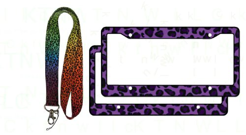 1 Key Chain Lanyard and 2 License Frame Covers - Leopard MulticolorPurple