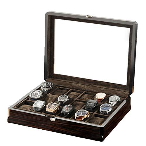 Caja de reloj, 12 Ranura exclusivo Piano Paint Caso de madera del reloj de imitación ébano Textura con tapa de cristal for el negocio de los padres chicos chicas Día novio regalo ( Color : Black )