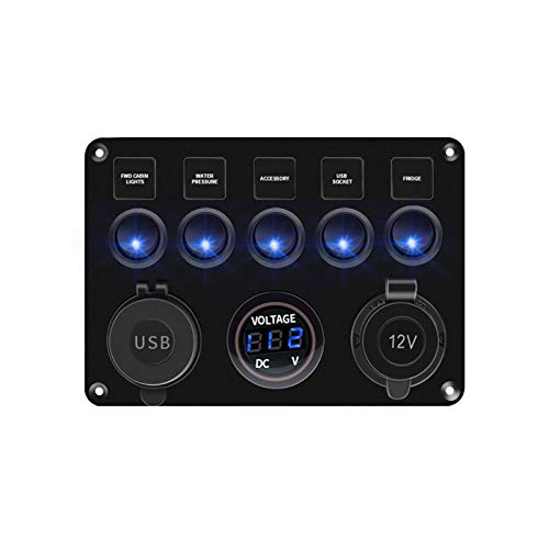 YINLONG Rocker Switch Panel 5/6 Gang Toggle Interruptor con Doble USB Impermeable Accesorios de lancha rápida para el camión de automóviles de Barco Marino (Color : 5GangBlue)