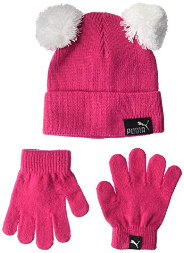 PUMA Kids' Toddler Evercat Beanie and Glove Set, Pink/Black, Youth...