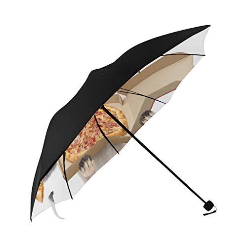 Cute Umbrella Compact Cat And Dog Eat Pizza Underside Printing Parasoul Umbrella Best Umbrella Parasol Umbrella Stroller With 95% Uv Protection For Women Men Lady Girl