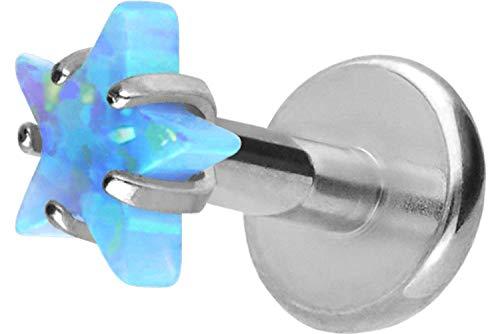 PIERCINGLINE Titan Labret Stecker Innengewinde | SYNTHETISCHER Opal Stern | Piercing Lippe Nase Ohr | Farb & Größenauswahl