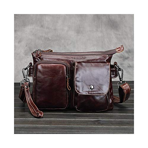 T-ara The New Cowhide Superficial Shoulder Bag Bias Cross Leather Bags Briefcase Handbag Essential for hiking (Color : Brown, Size : XL)