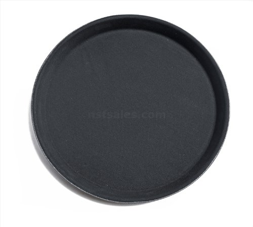 New Star Foodservice 25231 Non-Slip Tray, Plastic, Rubber Lined, Round, 16-Inch Dia, Pack of 12, Black