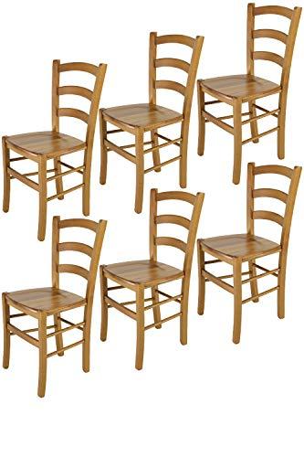 Tommychairs sillas de Design - Set 6 sillas Modelo Venice para Cocina, Comedor, Bar y Restaurante, con Estructura en Madera Color Roble y Asiento en Madera