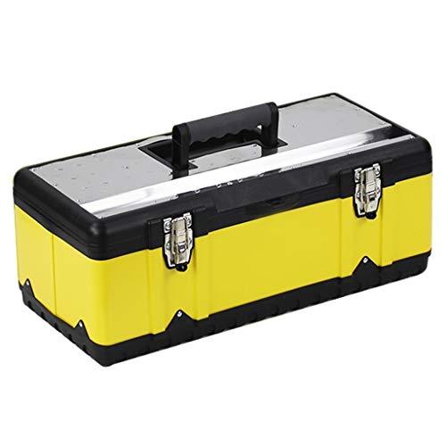 Cassetta degli attrezzi completa Metallo Toolbox spessa in acciaio inox Toolbox Storage Box strumento di archiviazione e rimovibile Vassoio antiscivolo maniglia 5 formati Attrezzi professionali