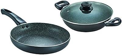Prestige Omega Deluxe Granite Aluminium Cookware Set, 2-Pieces, Black