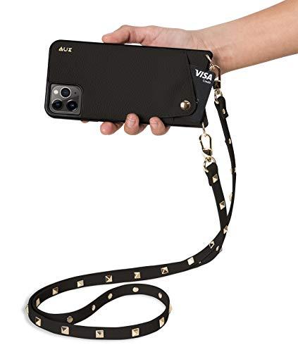 Aux de la colección Venecia | Funda para móvil de Cuero Vegano para iPhone 6 Plus /7 Plus /8 Plus | con Correa Cruzada Ajustable y Separable con Tachuelas chapadas en Oro, (Negro)