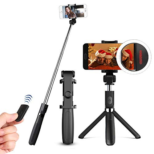 Selfie Stick Tripod with Remote Plus Ocathnon Selfie Ring Light Rechargeable, Extendable Monopod Tripod Stand Rotatable Support Selfie for iPhone7 8 Plus X/Galaxy S8/9 More Cellphone