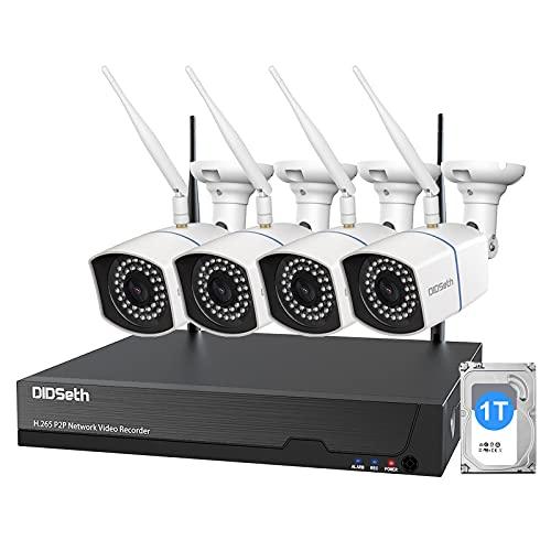 WLAN Überwachungskamera Set Außen 1080p 1TB HDD, 8CH Wireless NVR mit Audio 4X 1080p Wasserdicht IP Kamera Überwachungskamera, 30M Nachtsicht,Fernzugriff