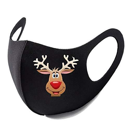 Bumplebee Weihnachten Mundschutz mit Motiv 3D Elch Druck Bandana Maske Waschbar Multifunktionstuch Wiederverwendbar Atmungsaktiv Halstuch Mund und Nasenschutz Damen Herren